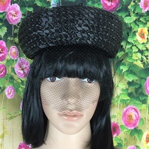 Jan Leslie Vintage Black Woven Hat Net Overlay